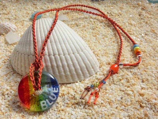 2.8 Sea Rainbow|ネックレス(オレンジ×ブラウンストラップ)※水色・黄・オレンジのビーズはクリアタイプに変更