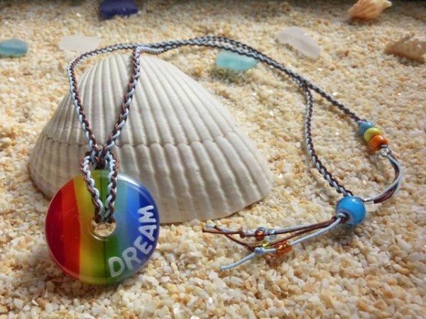2.8 Rainbow ネックレス(水色×ブラウンストラップ)(※水色・黄・オレンジのビーズはクリアタイプに変更)