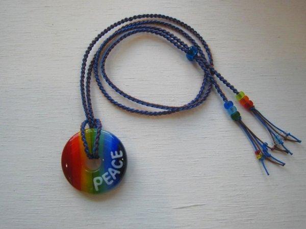 3.5 Rainbow|ネックレス(ブルー×ブラウンストラップ)