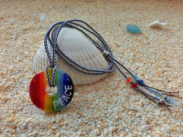 3.5 Rainbow ネックレス(水色×ブラウンストラップ)