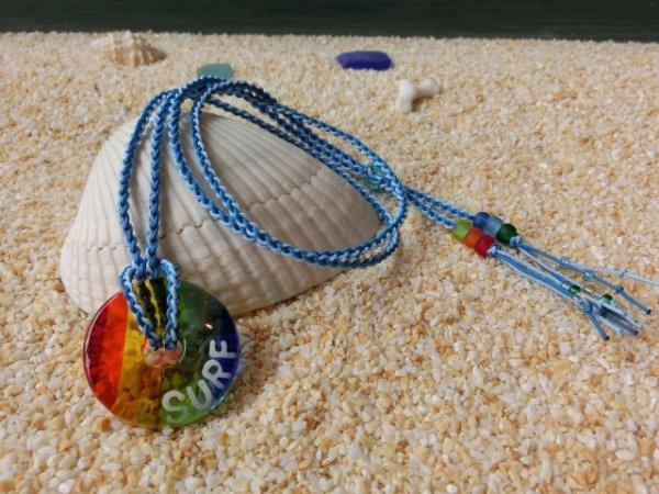 2.8 Sea Rainbow ネックレス(水色×スカイブルーストラップ)